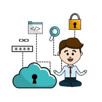 Homem com ícones de wi-fi e tecnologia de dados de nuvem