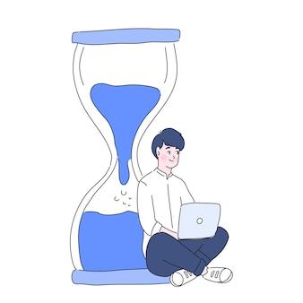 Homem com ilustração de prazos