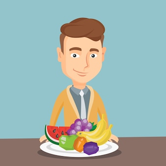 Homem com ilustração vetorial de frutas frescas.