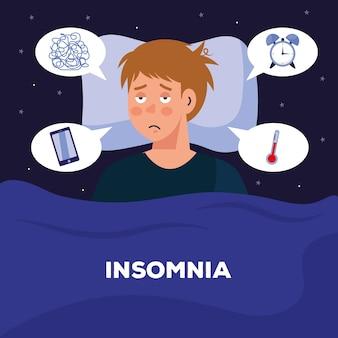 Homem com insônia na cama com design de bolhas, tema de sono e noite.