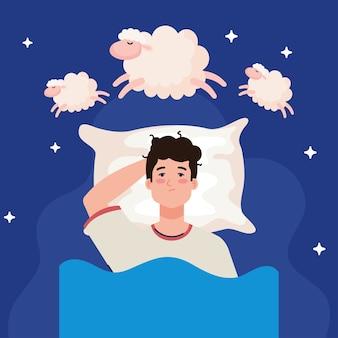 Homem com insônia na cama com design de travesseiro e ovelha, tema sono e noite
