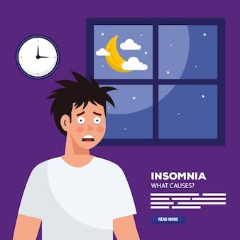 Homem com insônia na frente do tema de design, sono e noite de janela.