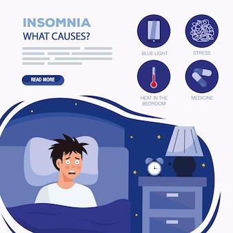 Homem com insônia no tema de design de cama, sono e noite.