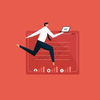 Homem com laptop fazendo marketing de seo, conceito de otimização de mecanismo de pesquisa
