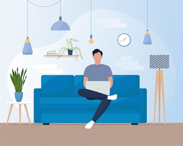 Homem com laptop no sofá. conceito de trabalho freelance ou em casa. ilustração em estilo simples