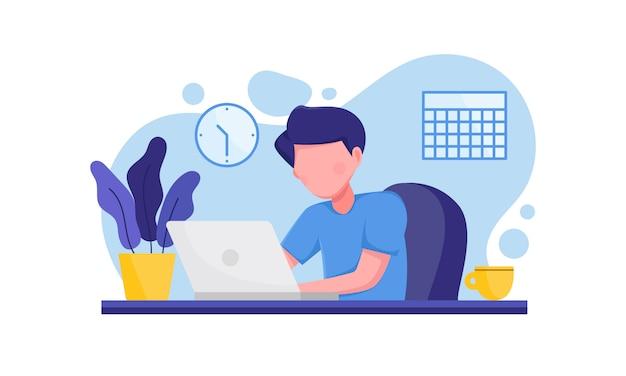 Homem com laptop sentado na cadeira trabalhar em casa ilustração
