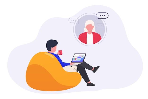 Homem com laptop usa assistente virtual, educação online, ensino doméstico. conceito de e-learning.