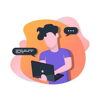 Homem, com, laptop
