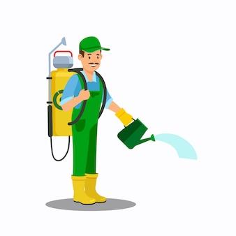 Homem, com, lata molhando, cor, vetorial, ilustração