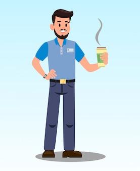 Homem, com, latte quente, caricatura, vetorial, ilustração
