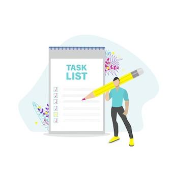 Homem com lista de verificação e lista de tarefas. gerenciamento de projetos, planejamento e pontuação do conceito de tarefas concluídas. ilustração em vetor plana.