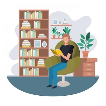 Homem, com, livro, em, livingroom, avatar, personagem