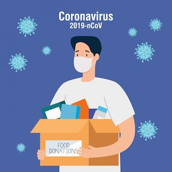 Homem com livros de caixa de doação de papelão, conceito de assistência social, voluntariado e caridade