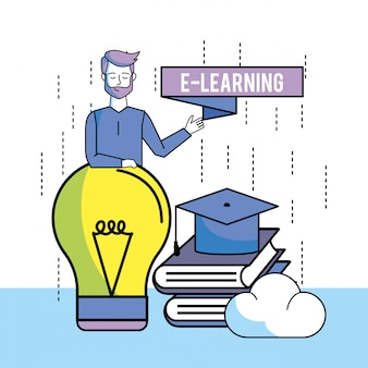 Homem, com, livros educação, e, bulbo, idéia