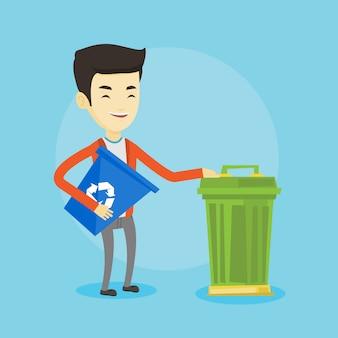 Homem com lixeira e lata de lixo.