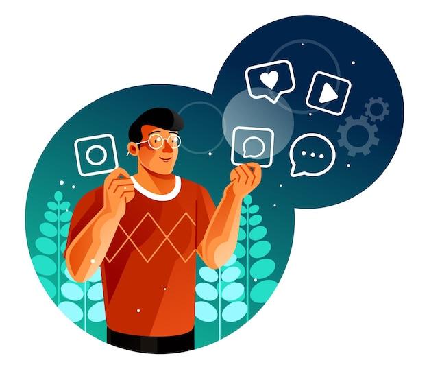 Homem com logotipo de aplicativo de mídia social