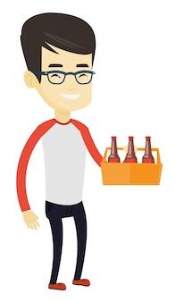 Homem com maço de cerveja.