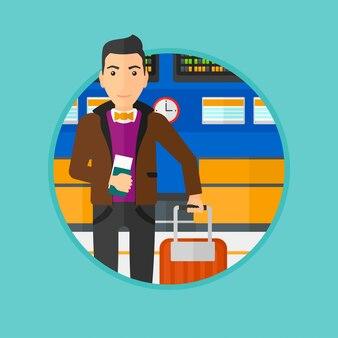 Homem com mala e bilhete no aeroporto.