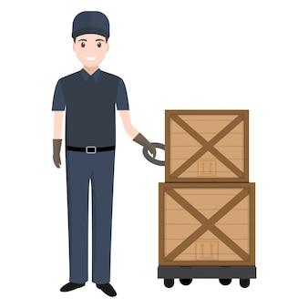 Homem, com, mão pallet, elevador jack, e, crate
