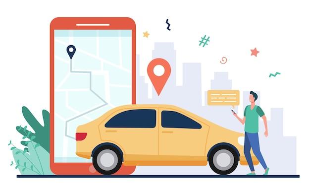 Homem com mapa no smartphone, alugando carro. motorista usando aplicativo de compartilhamento de carro no telefone e procurando veículo. ilustração vetorial para transporte, transporte, tráfego urbano, conceito de aplicativo de localização.