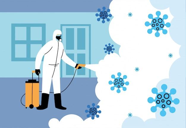 Homem com máscara de desinfecção de espaços e casa por covid 19