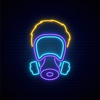 Homem com máscara de gás sinal de néon