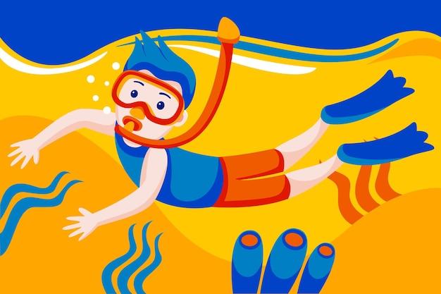 Homem com máscara de mergulho, mergulho subaquático com peixes tropicais na piscina do mar de recife de coral.