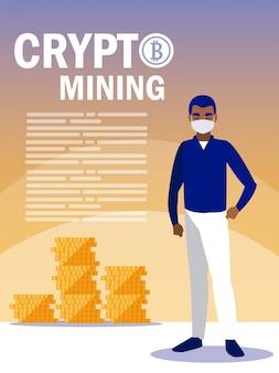 Homem com máscara e bitcoins