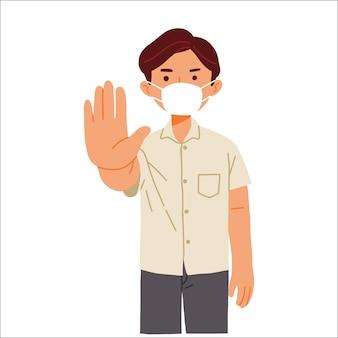 Homem com máscara facial parada avisando vírus corona covid 19