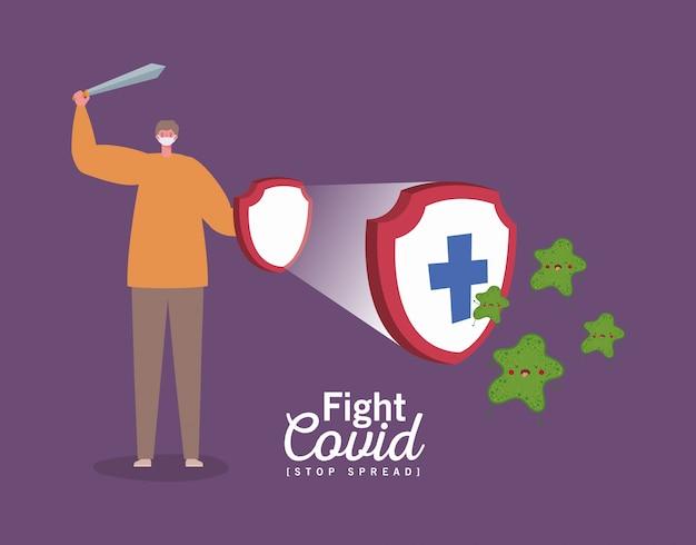 Homem com máscara kawaii desenhos animados espada e escudo com cruz design