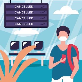 Homem com máscara médica e cancelado design de placa de voo
