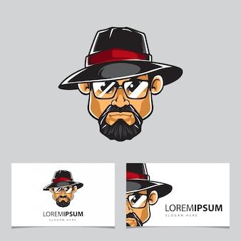 Homem com mascote de chapéu e cartões de visita
