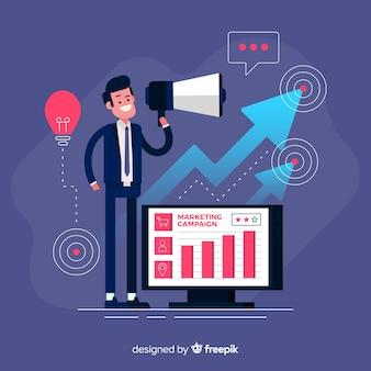 Homem, com, megafone, campanha marketing, fundo