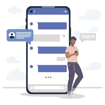 Homem com mensagens de smartphone