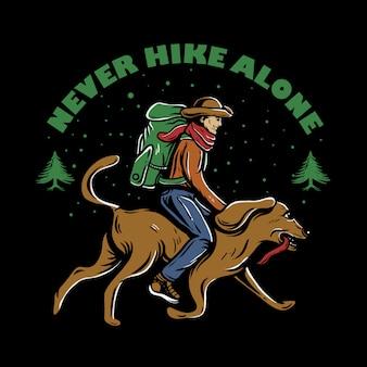 Homem, com, mochila, montando, cão