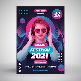 Homem com modelo de cartaz de evento de música de fones de ouvido