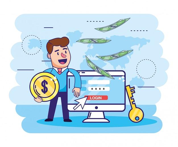 Homem com moeda e senha digital do computador