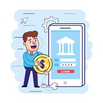 Homem com moeda e senha digital smartphone