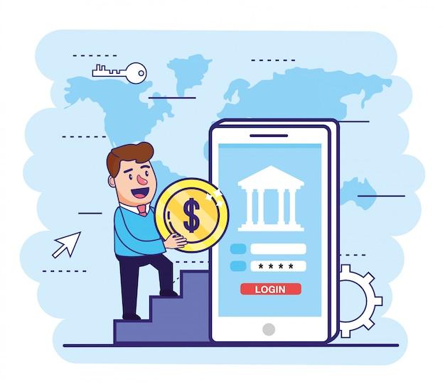 Homem, com, moeda, e, smartphone, com, senha bancária
