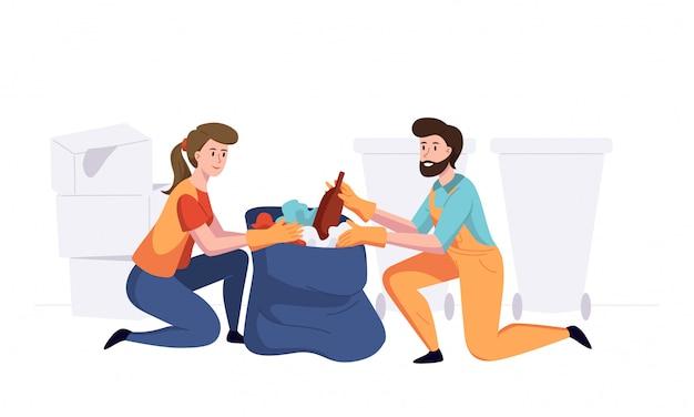 Homem com mulher de funcionários da empresa de coleta de lixo no pacote de limpeza. ilustração em um estilo simples