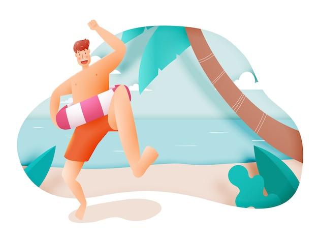 Homem, com, nade anel, com, bonito, praia, e, céu, ilustração