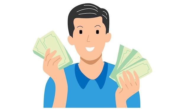 Homem com notas de dinheiro nas mãos
