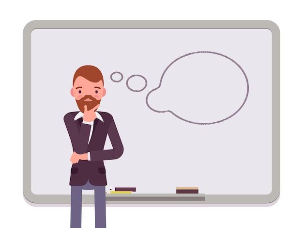 Homem com nuvem de diálogo desenhada