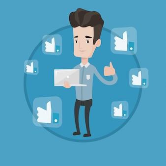 Homem com o polegar para cima e como botões de redes sociais.