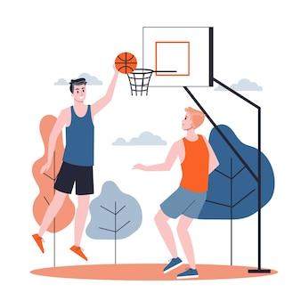 Homem com o uniforme esporte jogando basquete na rua. jogo de esporte, atividade ao ar livre. ilustração em estilo cartoon
