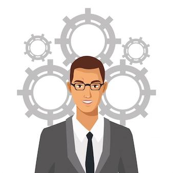 Homem com óculos adequados equipe de engrenagens empresariais