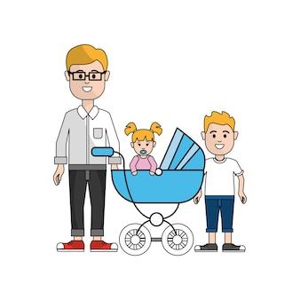 Homem com óculos e seu ícone de bebê e filho