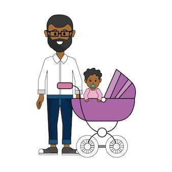 Homem com óculos e seu ícone de bebê