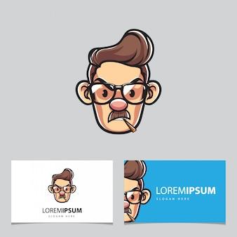 Homem com óculos mascote e cartões de visita