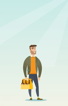 Homem, com, pacote cerveja